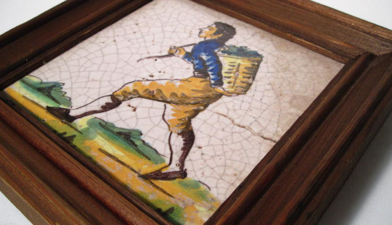 Italian Folk Art Framed Tile