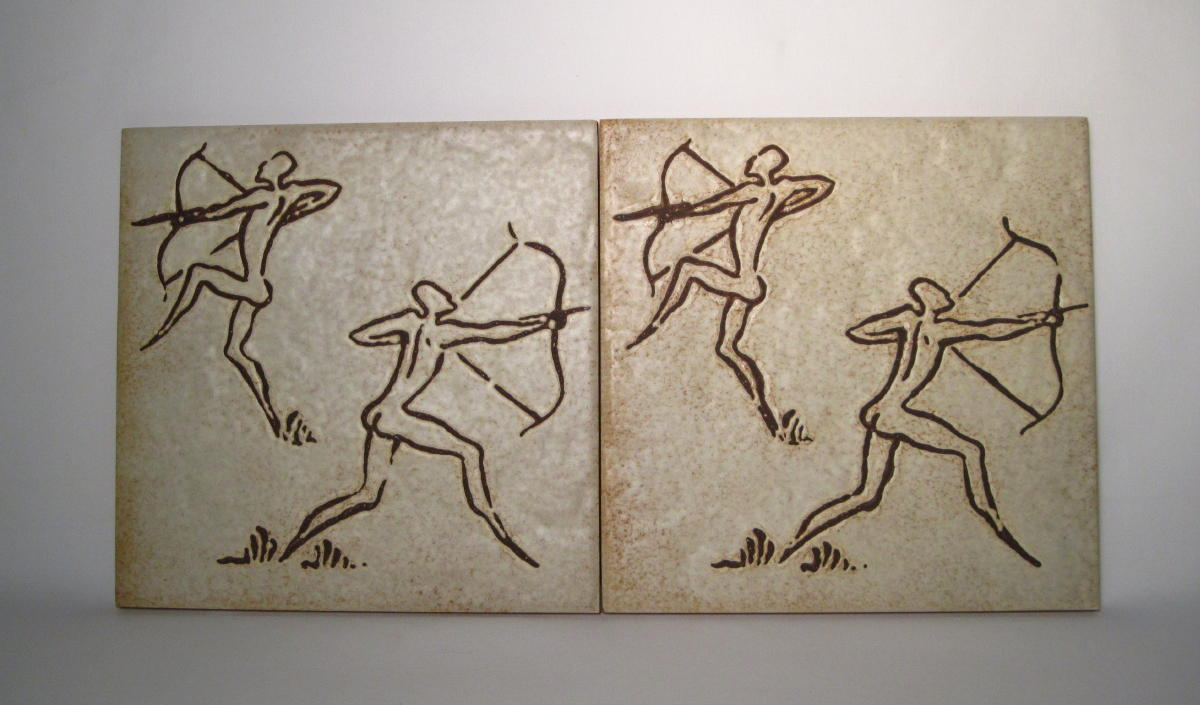 Pair of Primitive Hunting Tiles